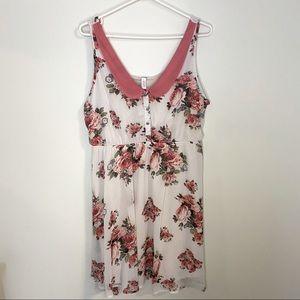 XHILARATION white chiffon dress with pink flowers